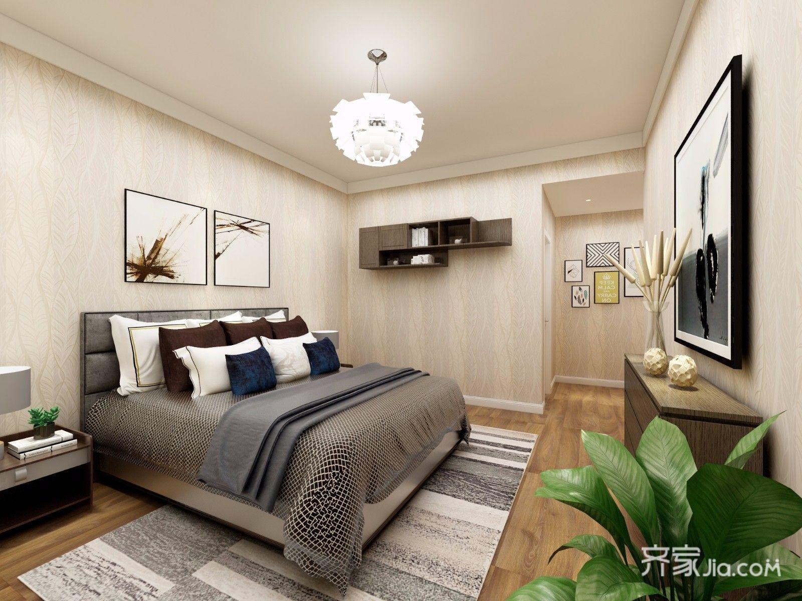 118㎡现代简约三居卧室背景墙装修效果图