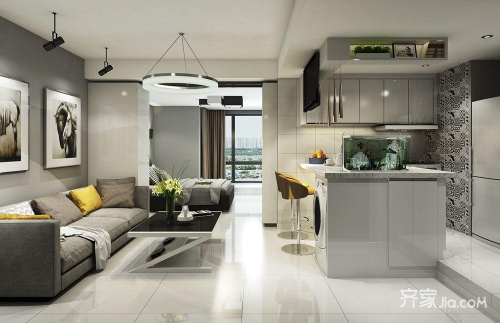 现代简约风两居客厅装修效果图
