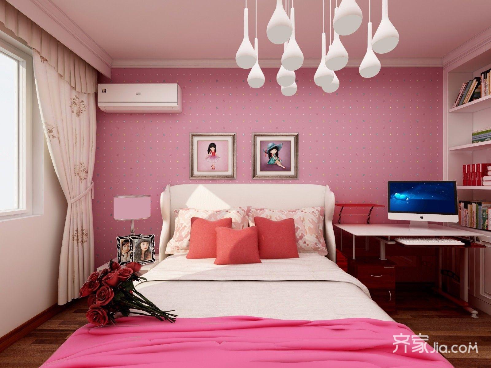 128平中式风格三居床头背景墙装修效果图