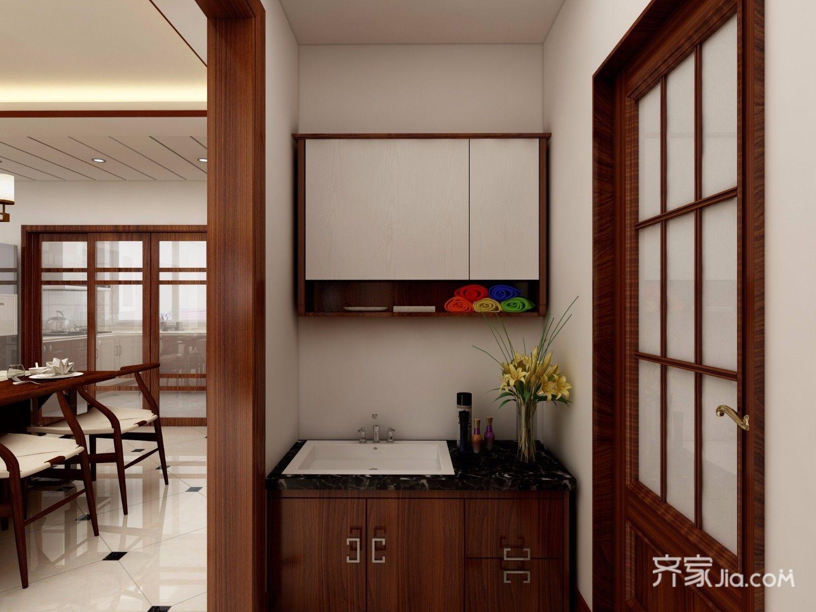 128平中式风格三居装修洗手台设计图