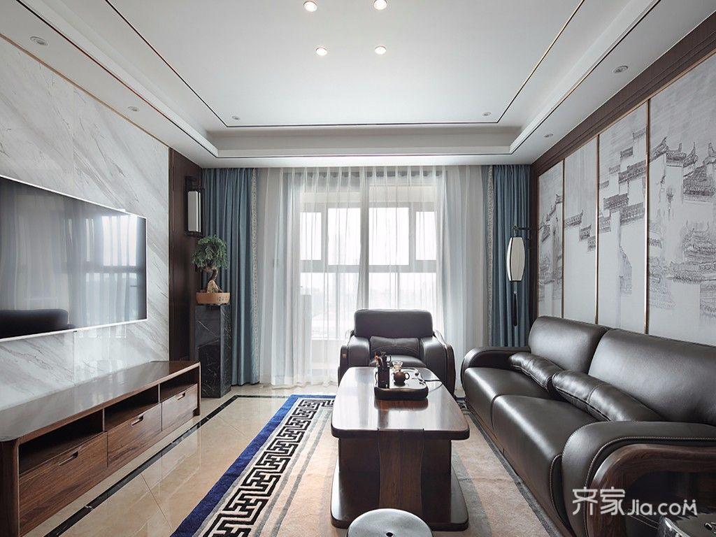 现代中式风格四居客厅装修效果图