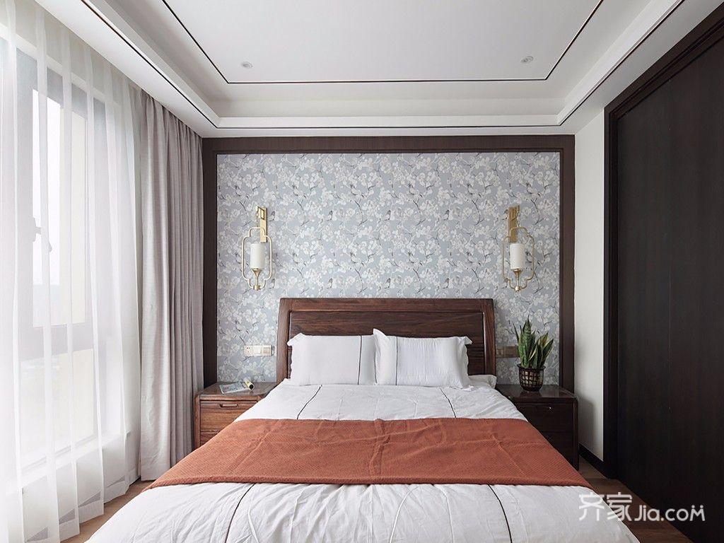 现代中式风格四居床头背景墙装修效果图