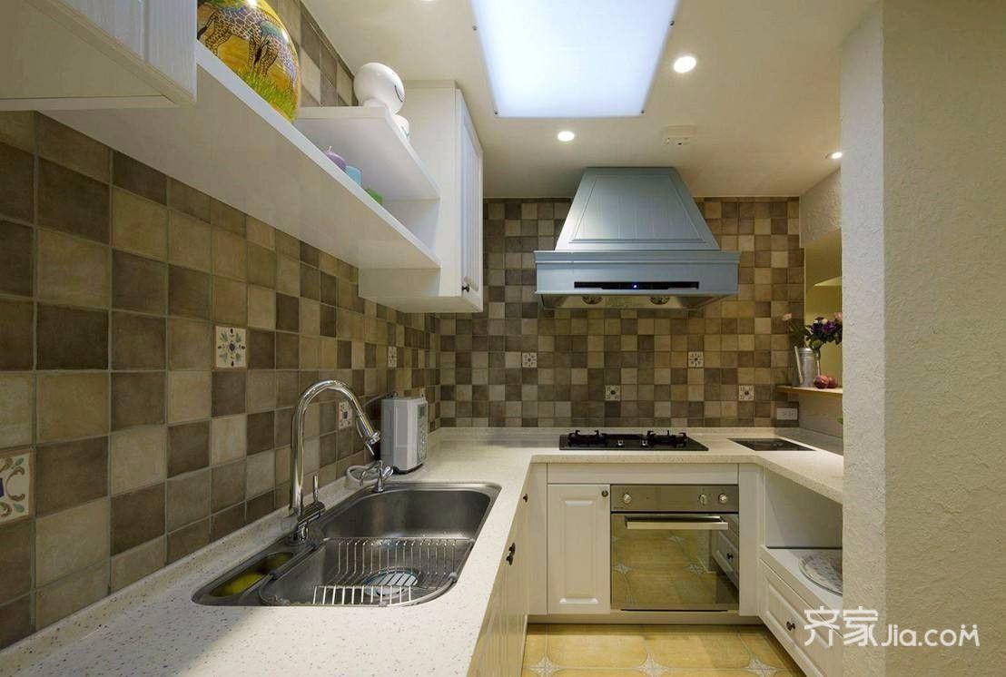 80㎡田园风格二居厨房装修效果图