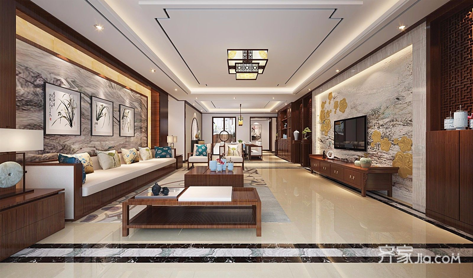 大户型中式风格三居客厅装修效果图