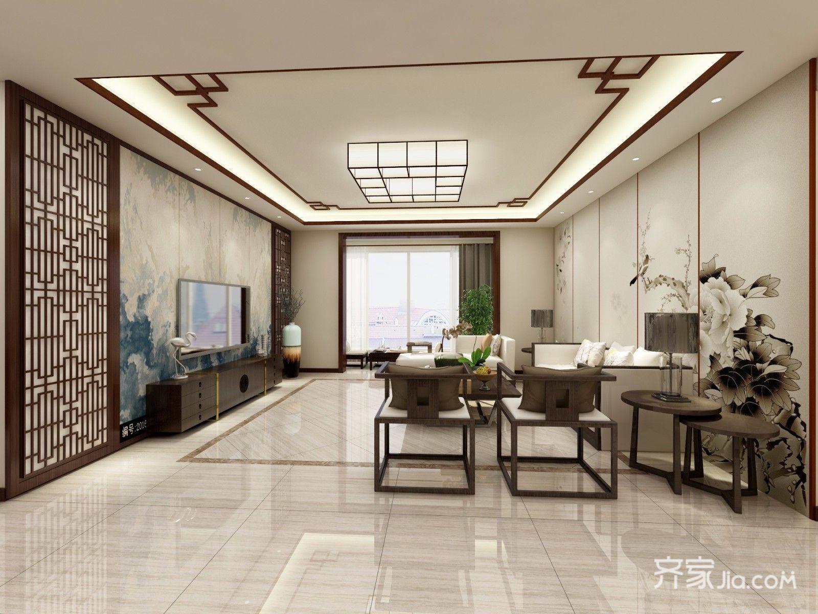 167平新中式风格客厅装修效果图