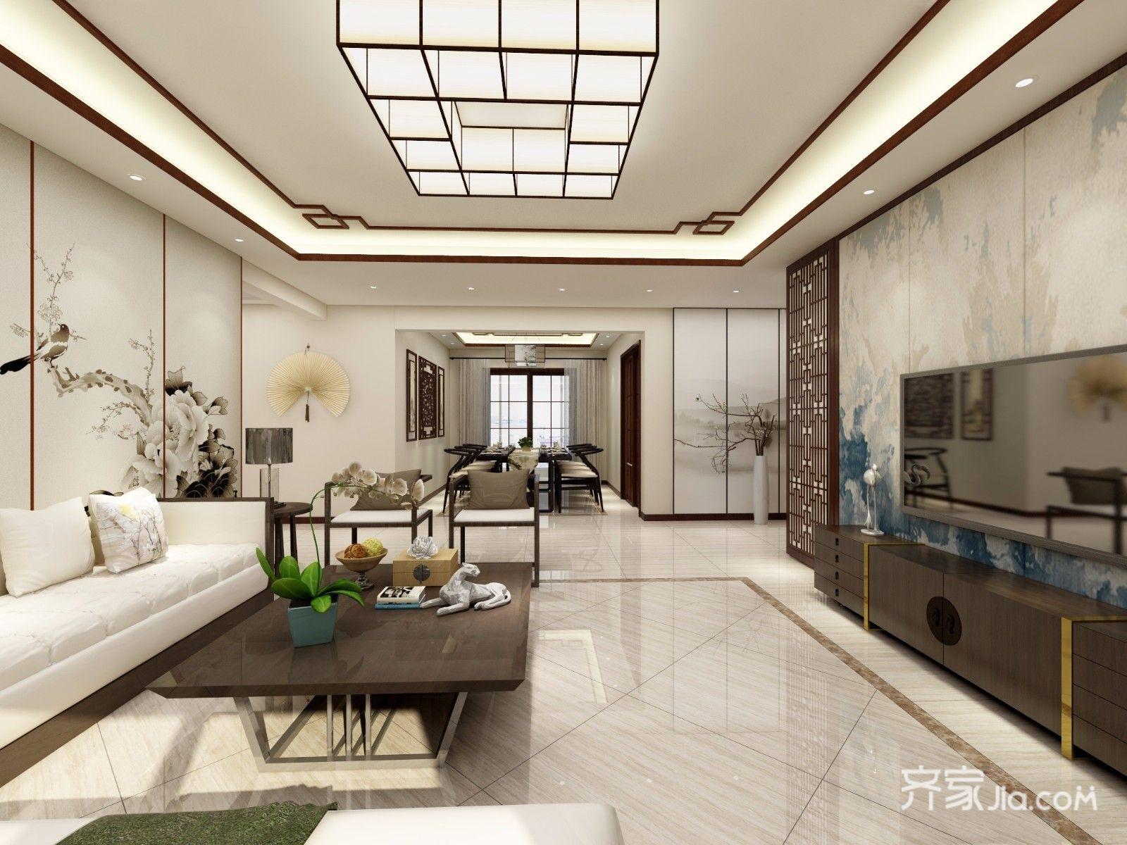 167平新中式风格客厅吊顶装修效果图