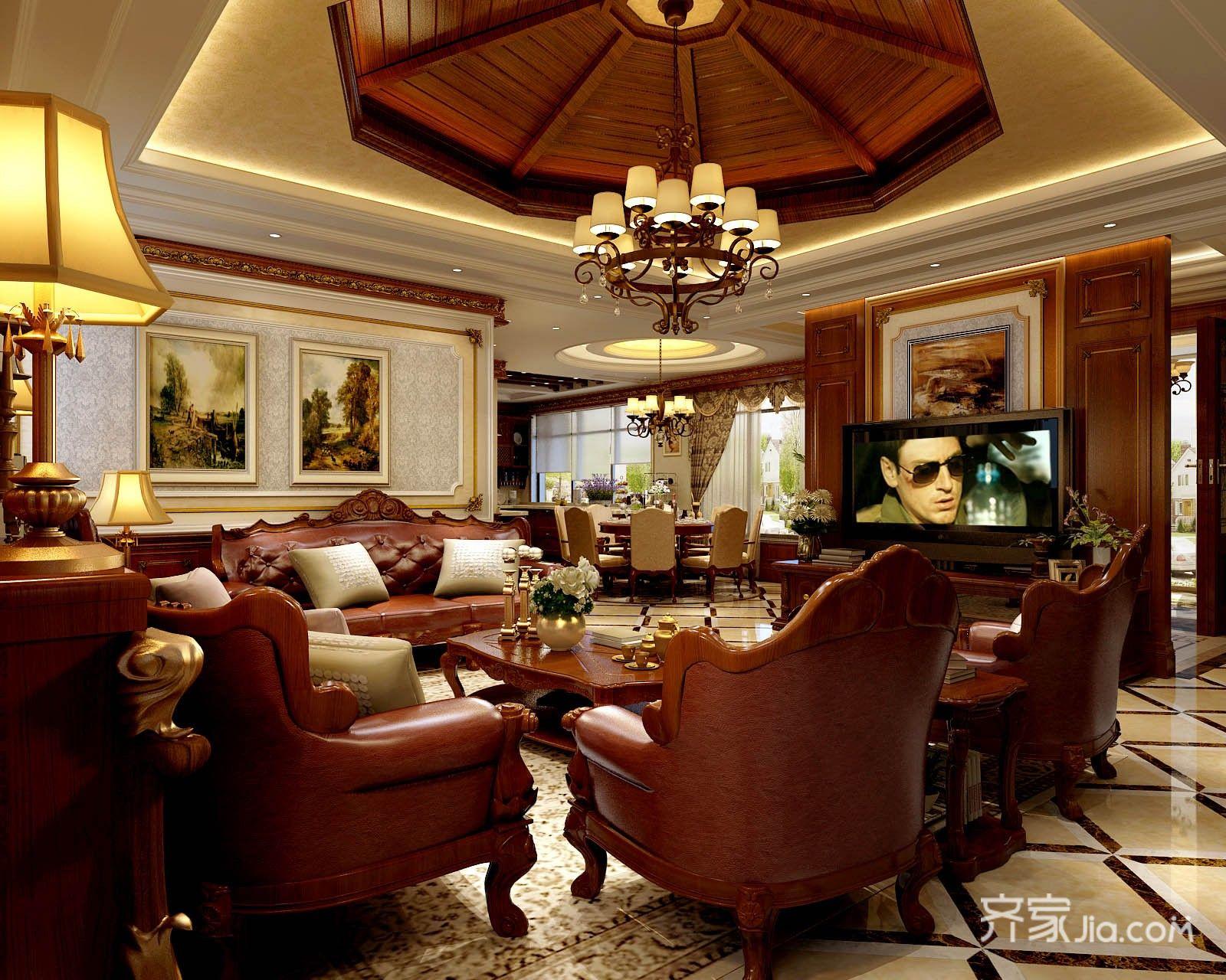 大户型欧式豪华别墅客厅装修效果图
