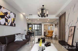 130㎡现代简约三居客厅吊顶装修效果图