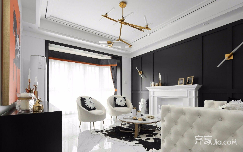 黑白现代轻奢风客厅装修效果图
