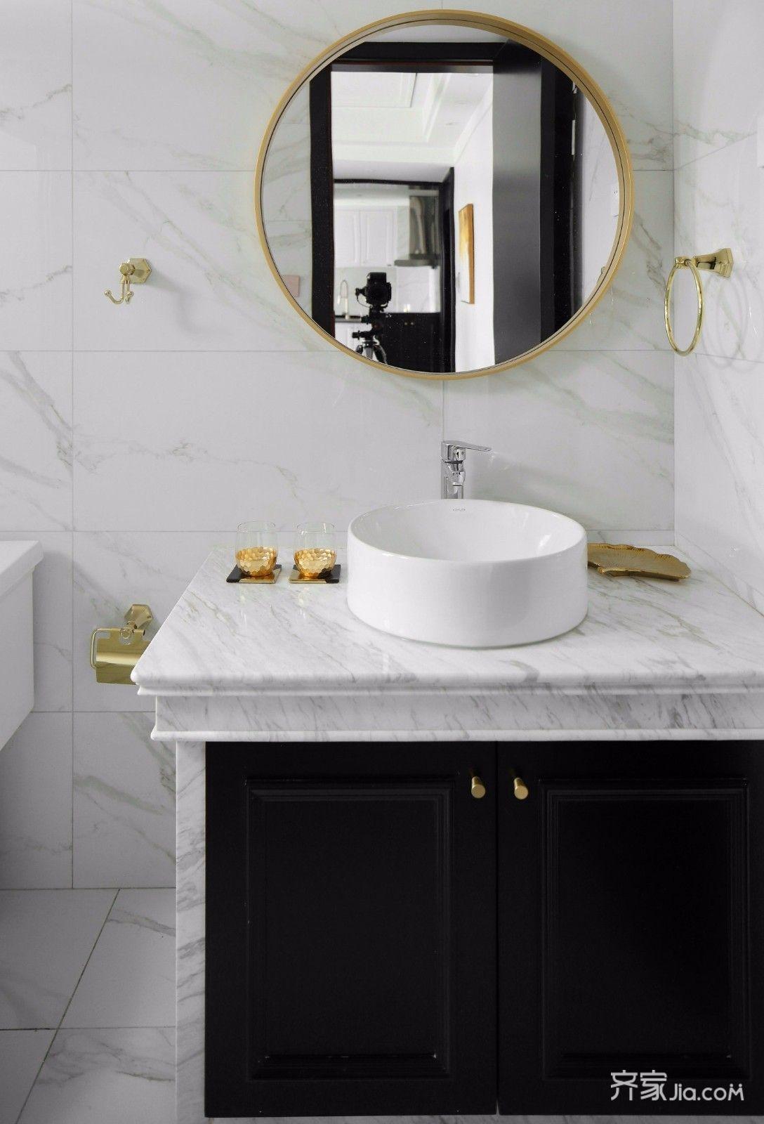 黑白现代轻奢风装修洗手台设计图