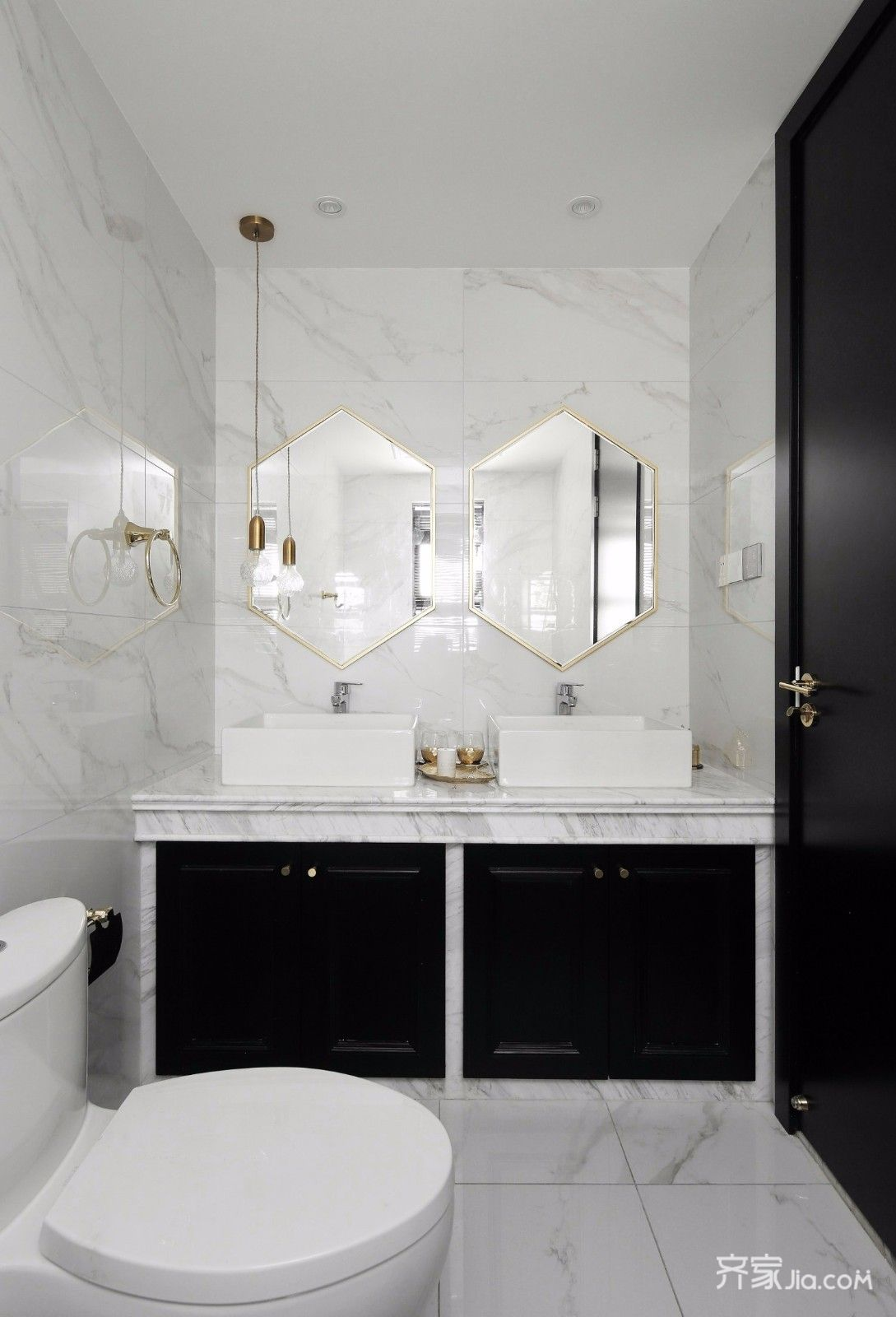 黑白现代轻奢风卫生间装修效果图