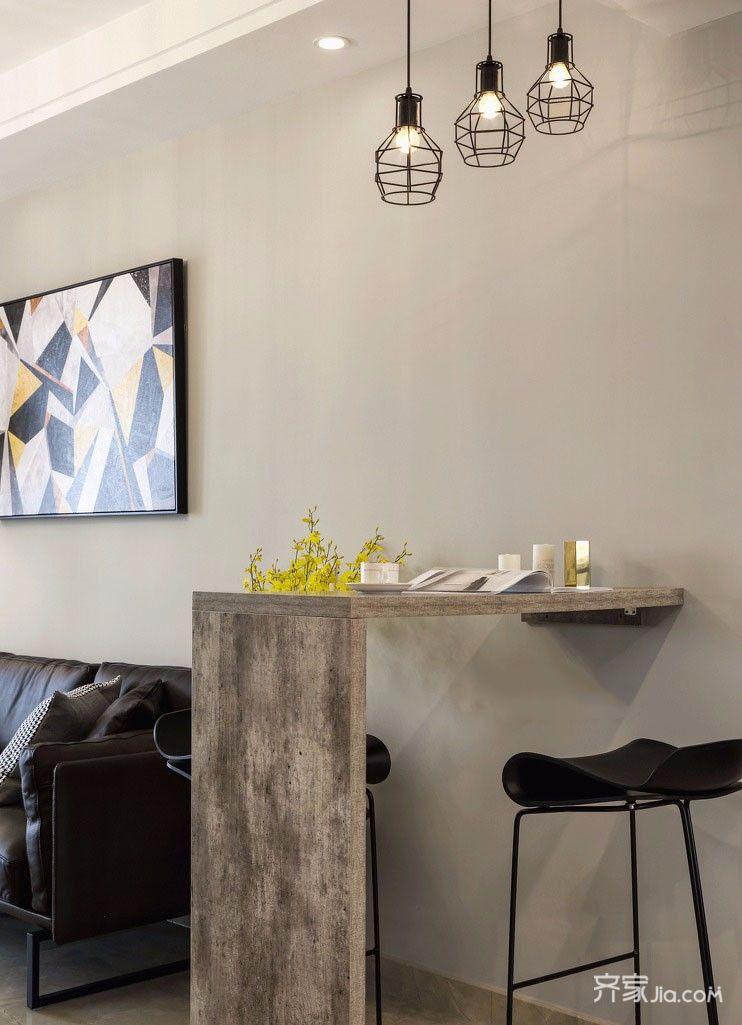 130㎡现代简约三居装修吧台效果图