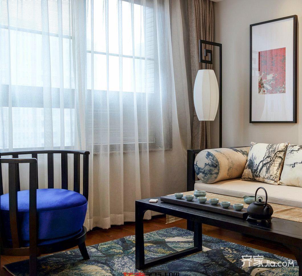 中式风格三居装修客厅一角