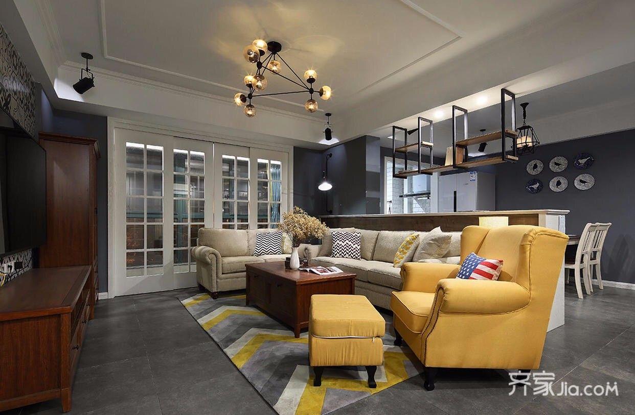 美式工业风三居室客厅吊顶装修效果图