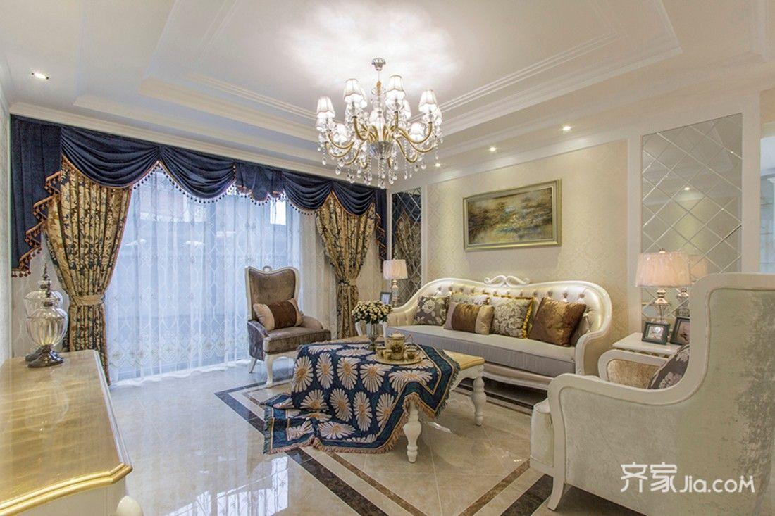 欧式奢华风格三居室客厅装修效果图