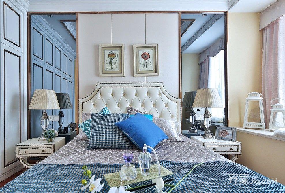 现代欧式风格三居装修床品搭配图