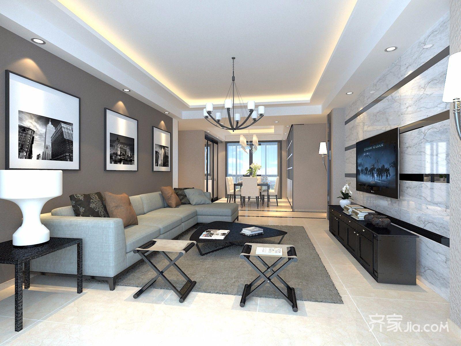 130平米现代风格客厅装修效果图
