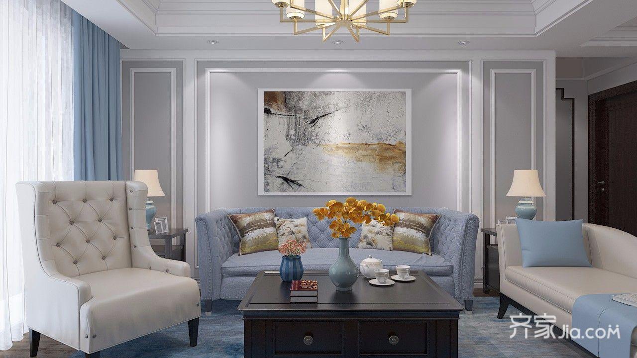 110平美式风格三居沙发背景墙装修效果图