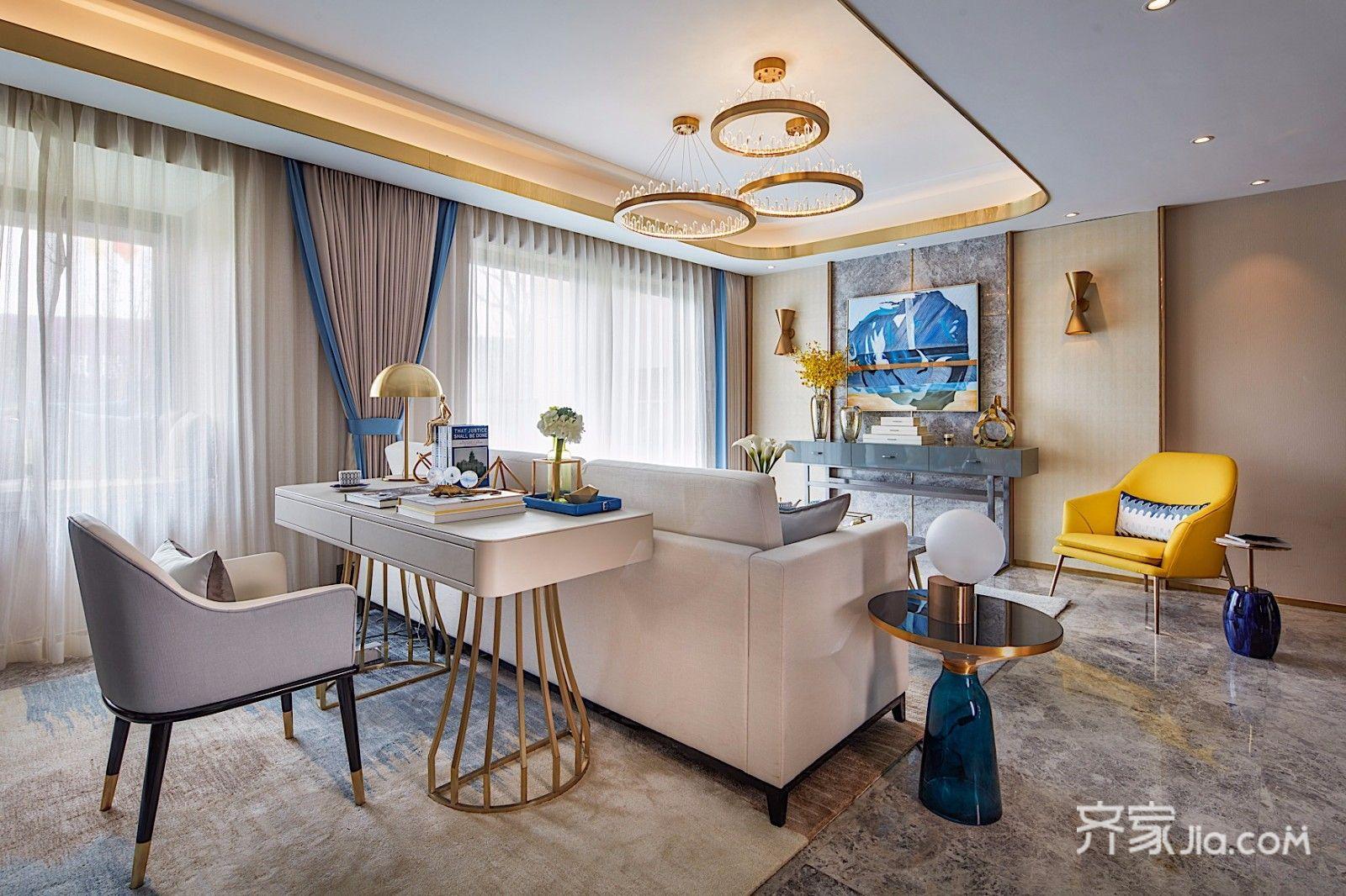 现代时尚轻奢三居室装修书桌效果图