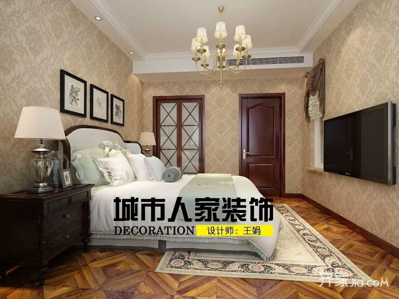 大户型中式别墅装修卧室背景墙设计图