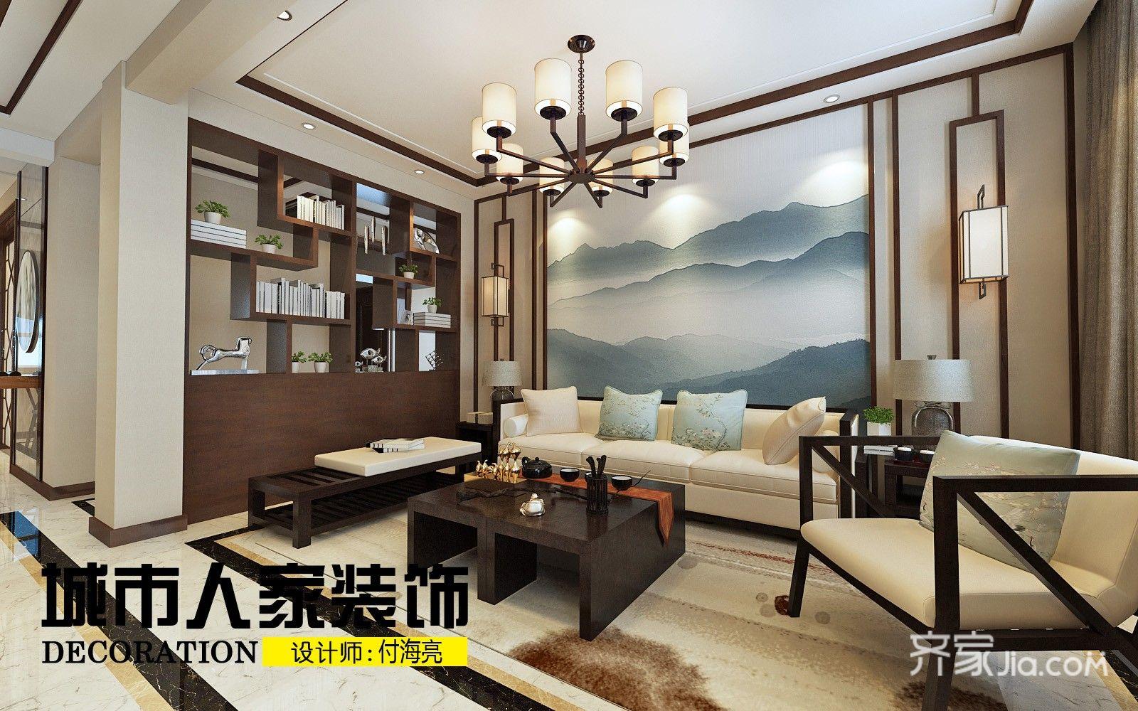220㎡新中式复式装修客厅效果图