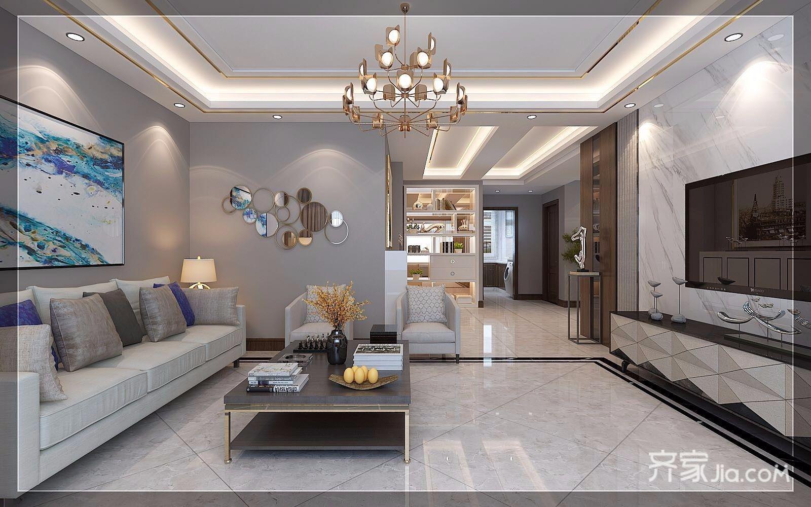 现代奢华复式三居客厅装修效果图