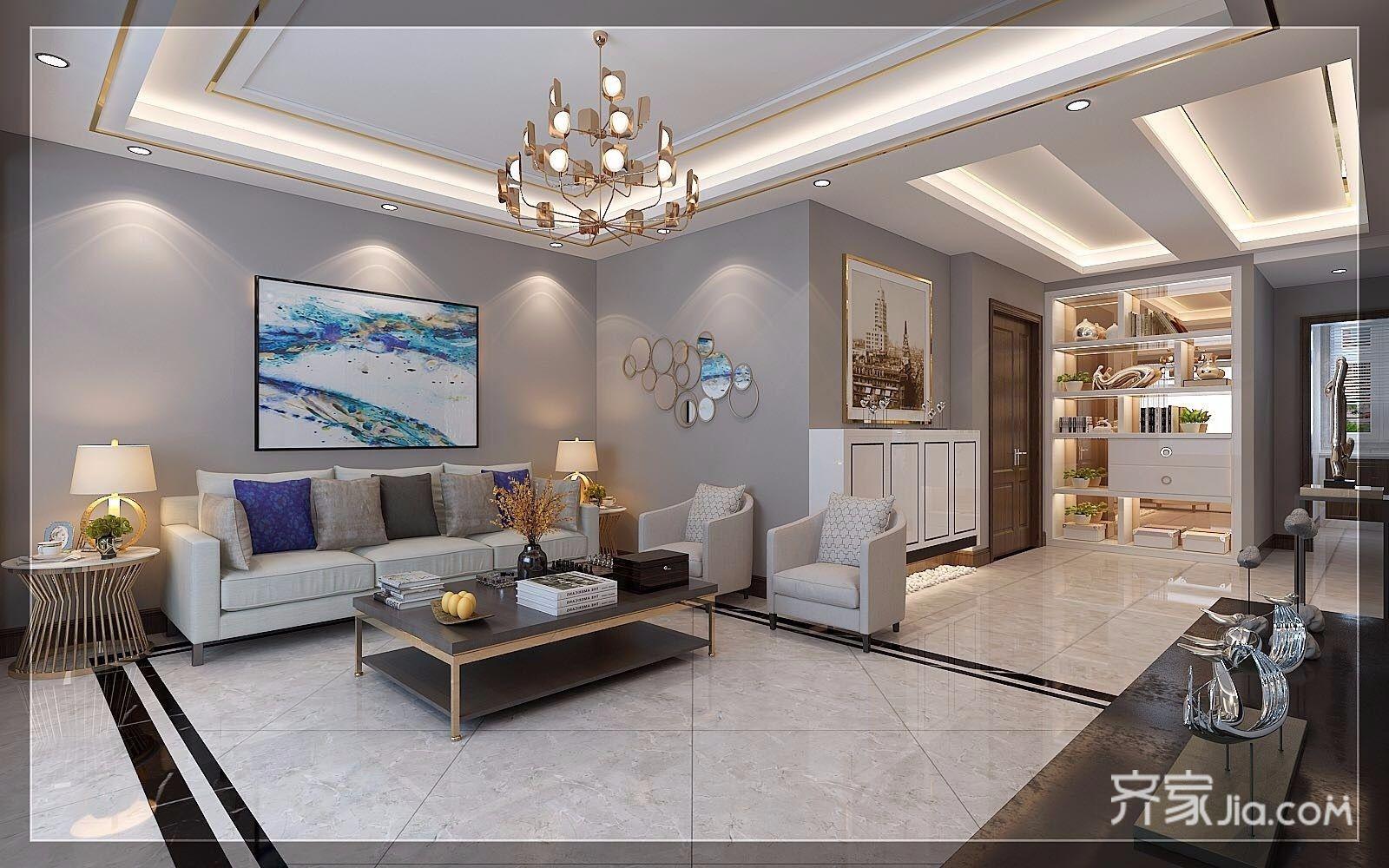 现代奢华复式三居沙发背景墙装修效果图