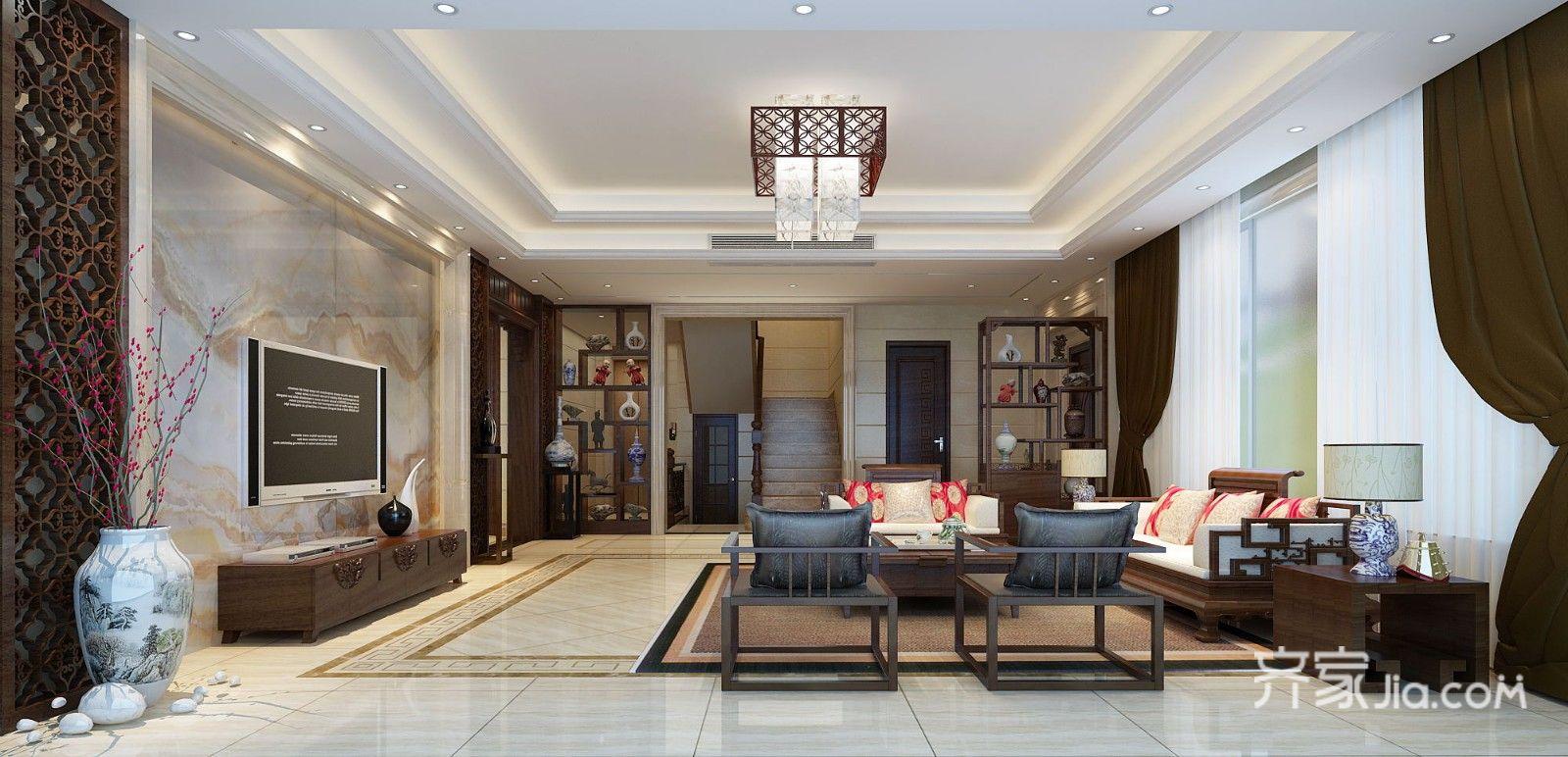 大户型中式风格别墅客厅装修效果图
