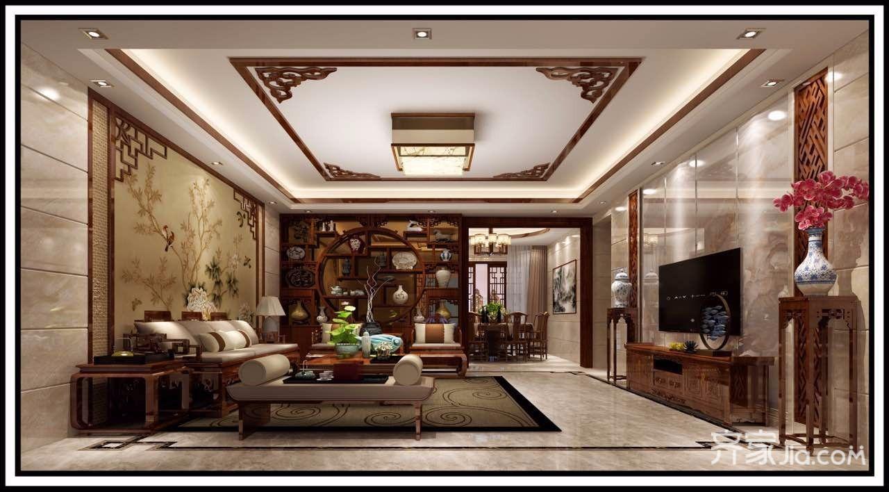 大户型中式风格四居客厅装修效果图