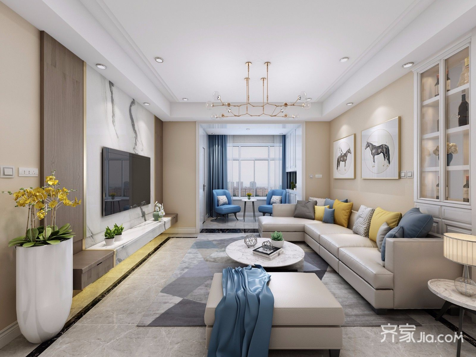125平三居现代简约客厅装修效果图