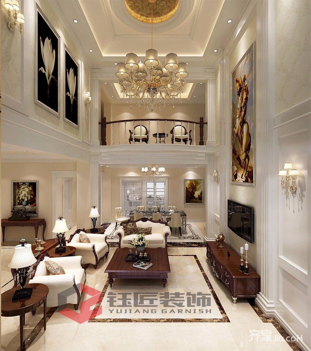350平欧式风格别墅客厅装修效果图