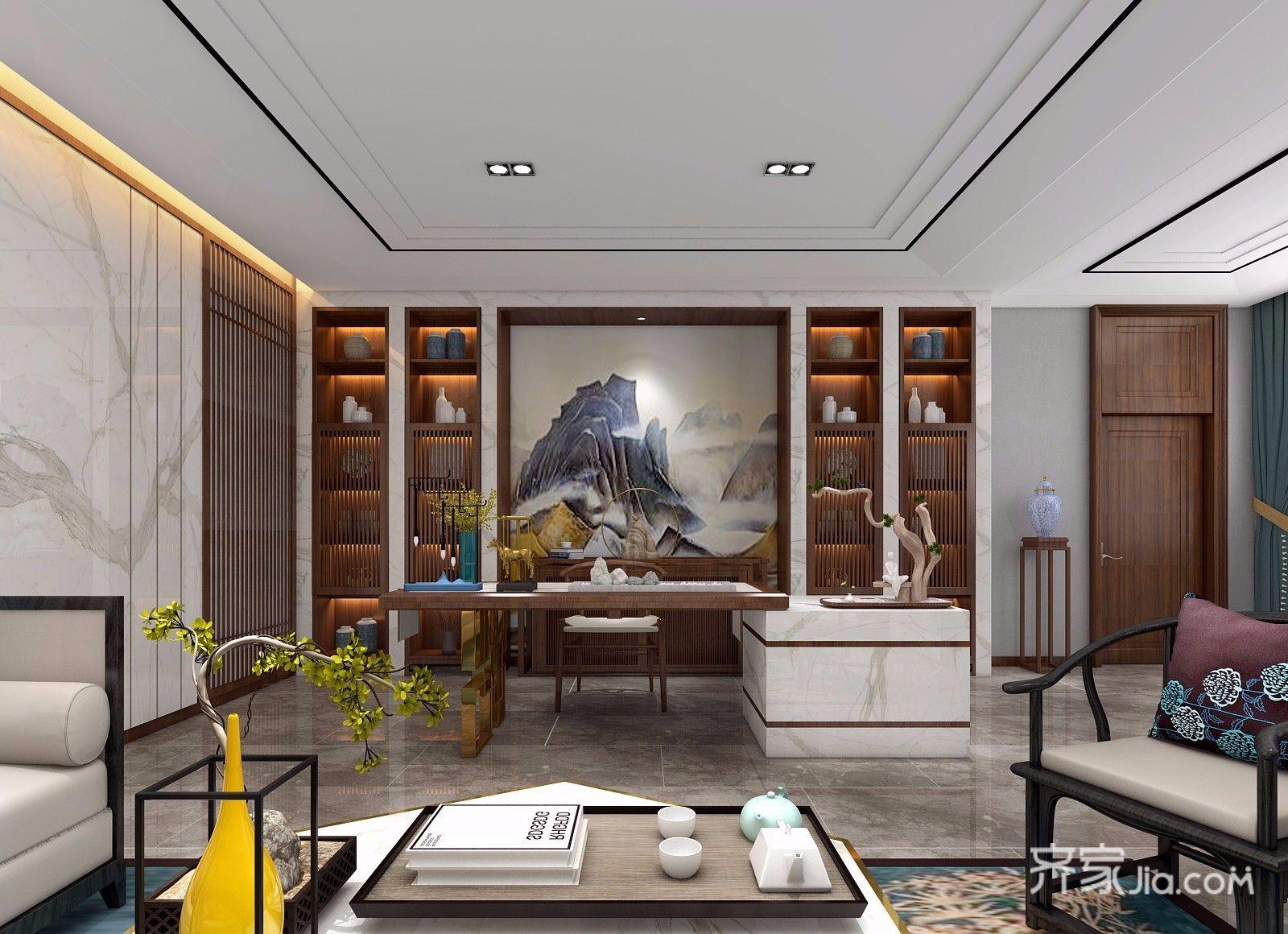 新中式风大户型书房装修效果图