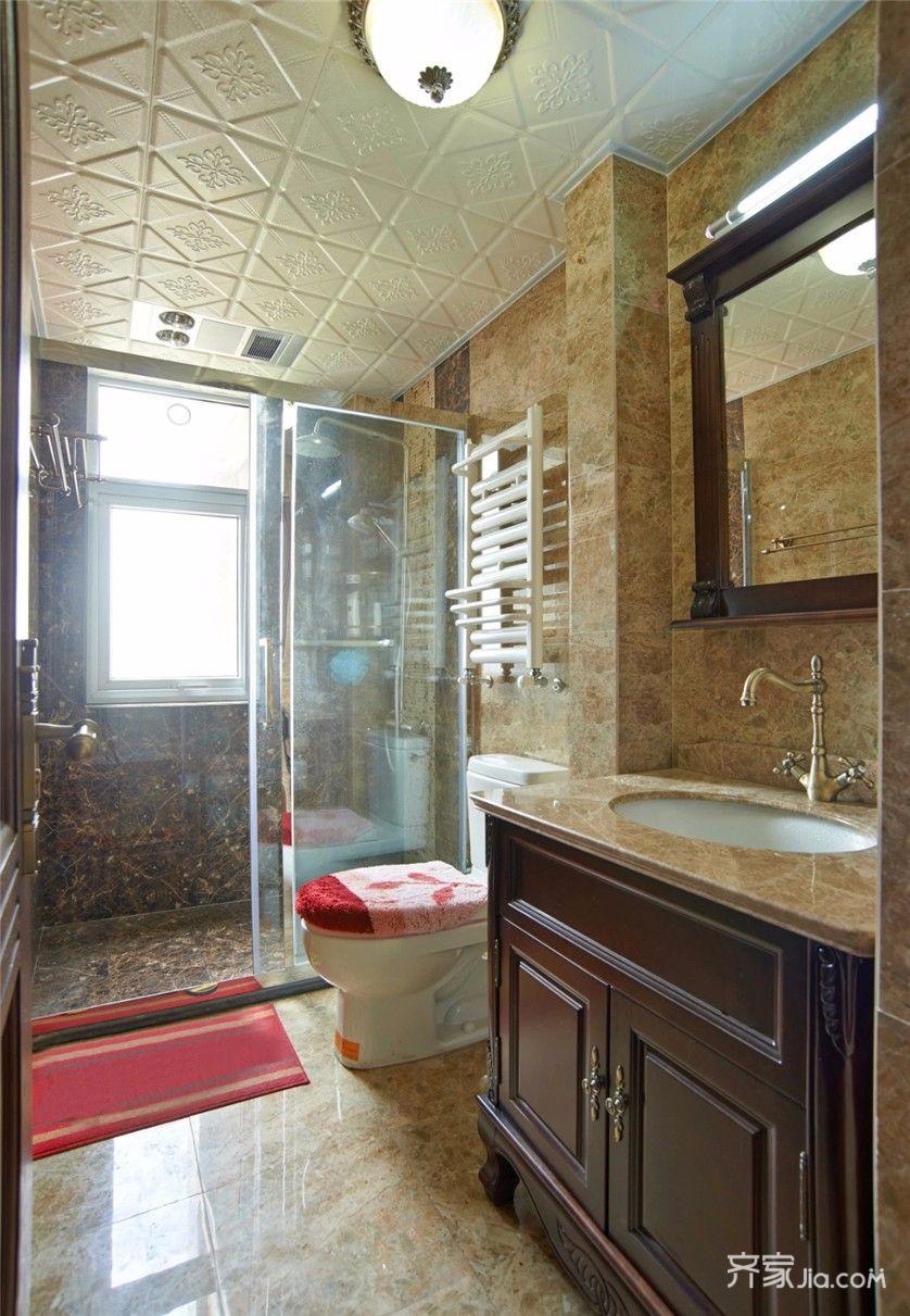 美式风格三居装修卫生间装潢图