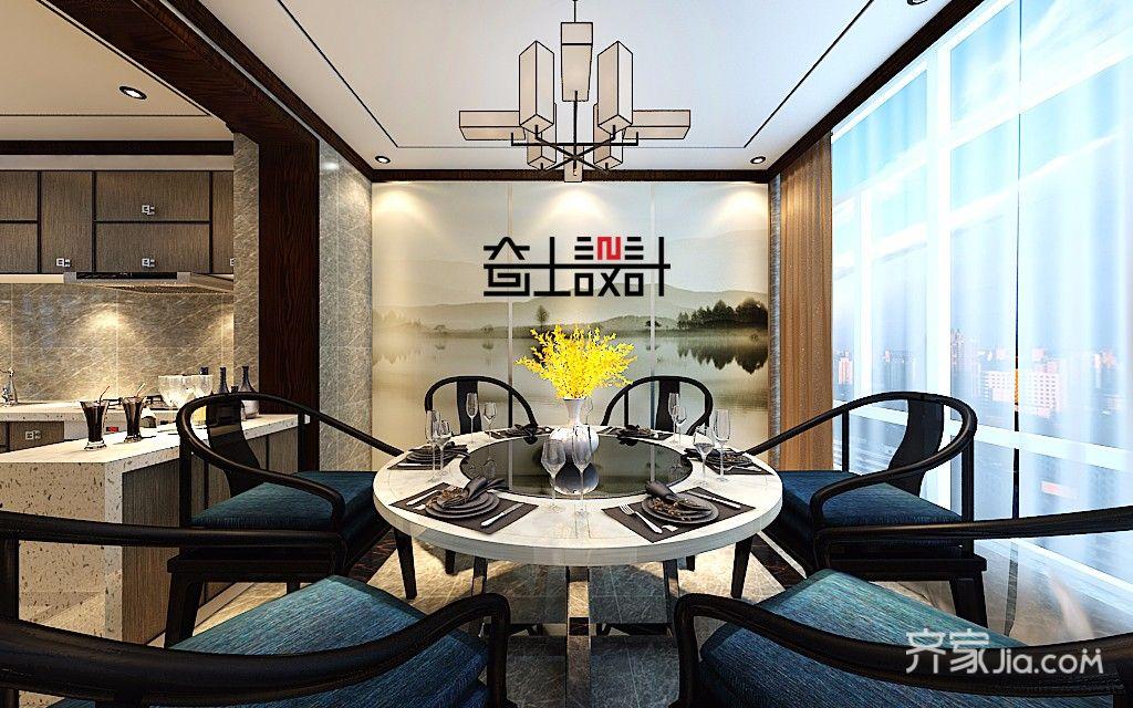 130平米新中式风格餐厅装修效果图