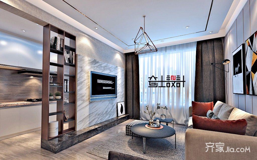 现代简约小户型客厅吊顶装修效果图
