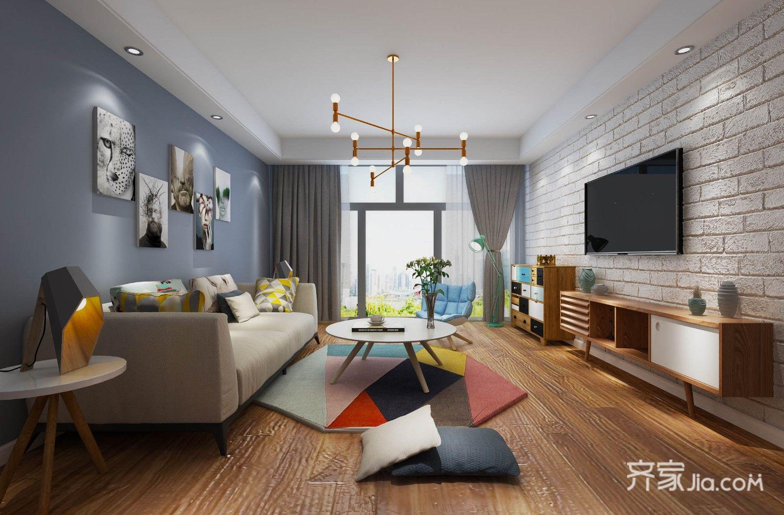 现代风格二居客厅装修设计效果图