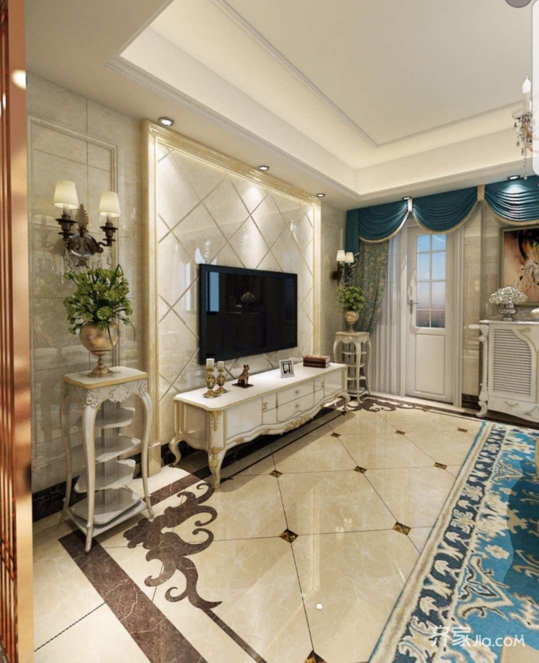 欧式别墅装修电视背景墙设计效果图