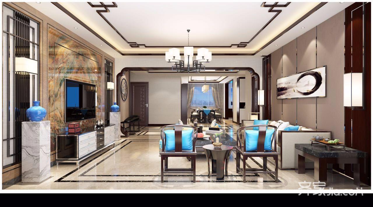 新中式风格四居客厅装修设计效果图