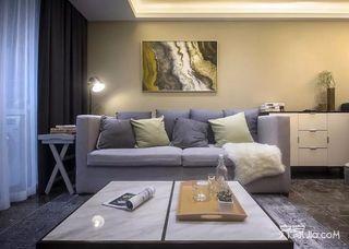 三居室现代简约风格装修沙发布置图