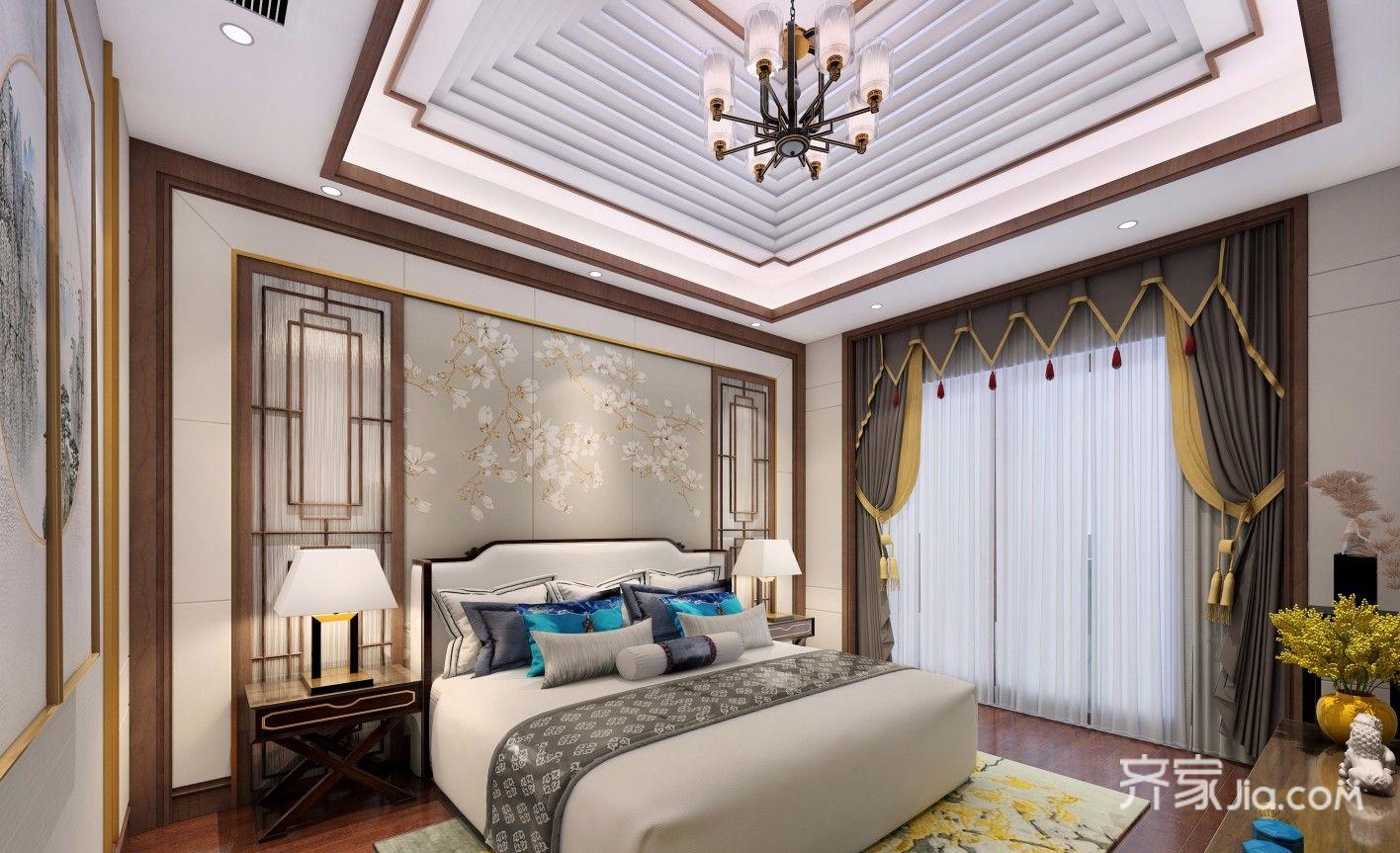 300平中式风格别墅卧室装修设计图