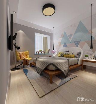 100㎡宜家风格三居装修床头背景墙设计图