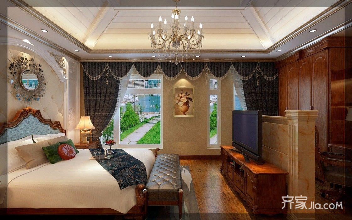 古典欧式豪华别墅装修卧室设计图