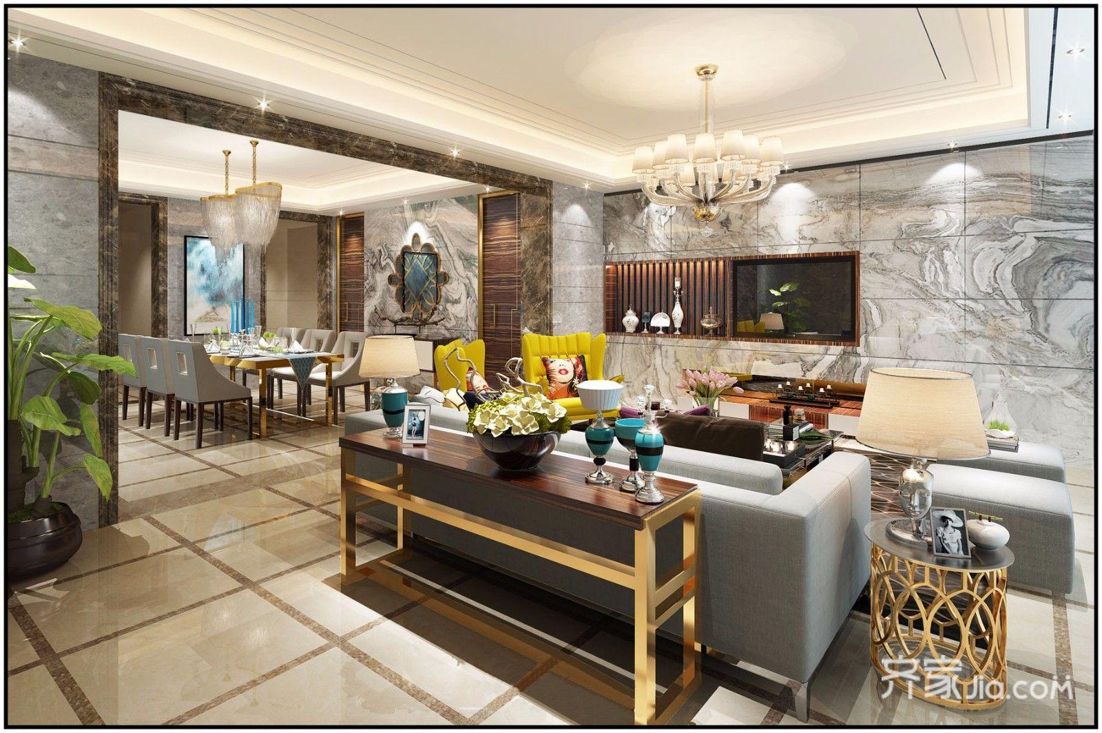 轻奢欧式风格别墅客厅装修效果图
