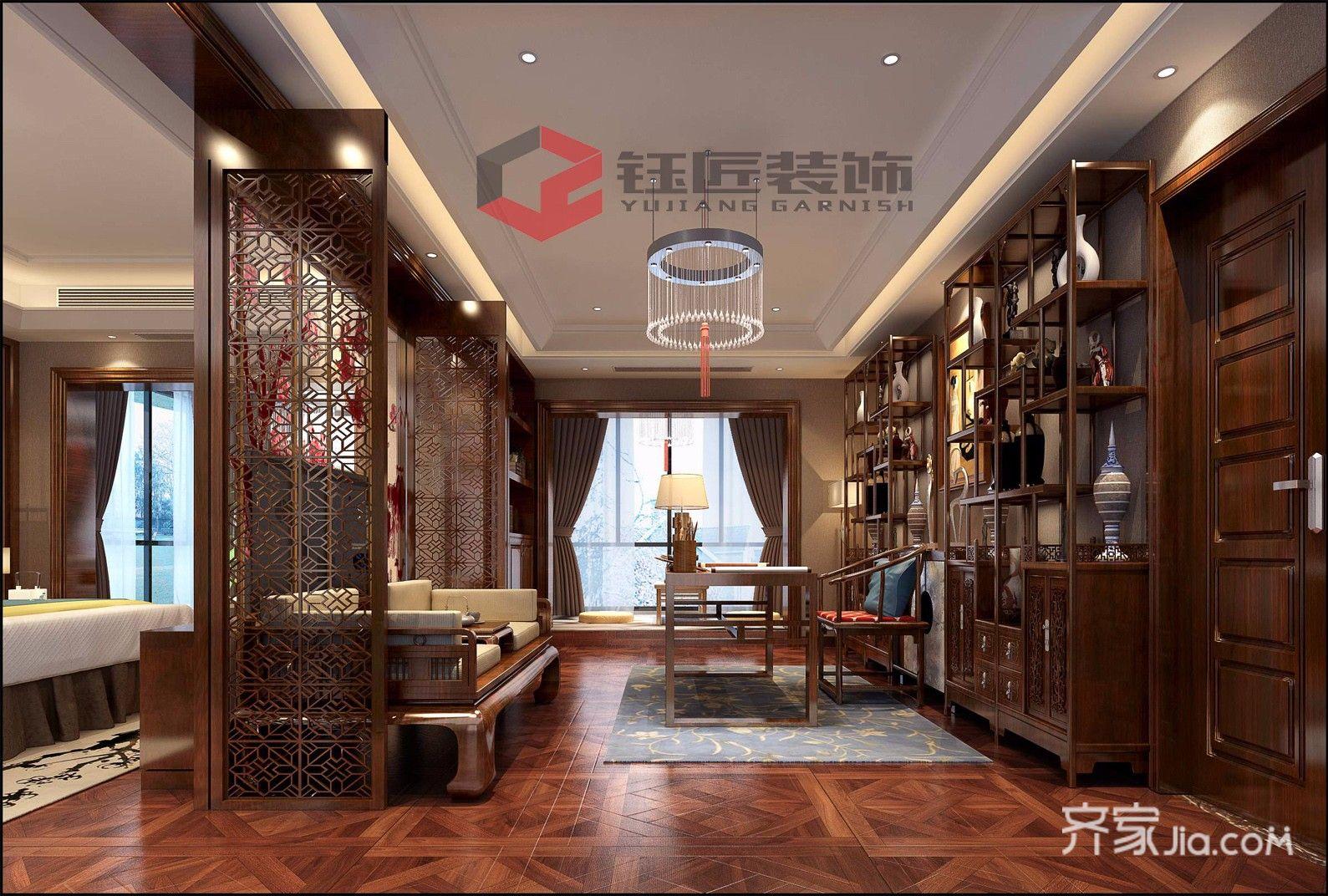 豪华新中式风格别墅书房装修效果图