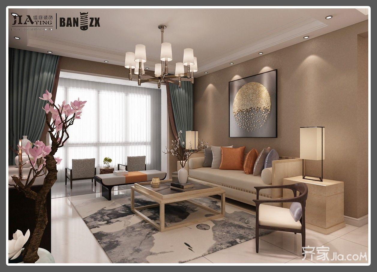 四居室新中式风格客厅装修效果图
