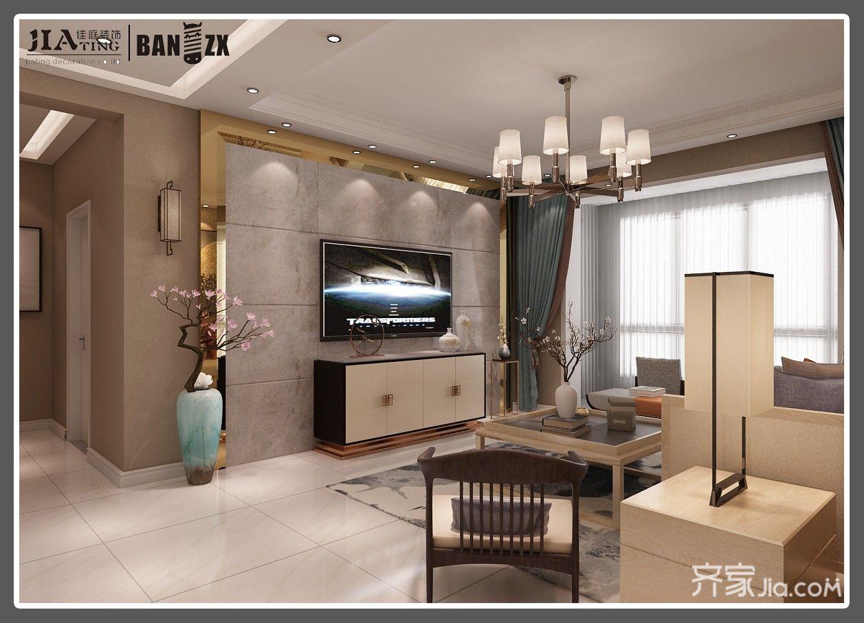 四居室新中式风格电视背景墙装修效果图