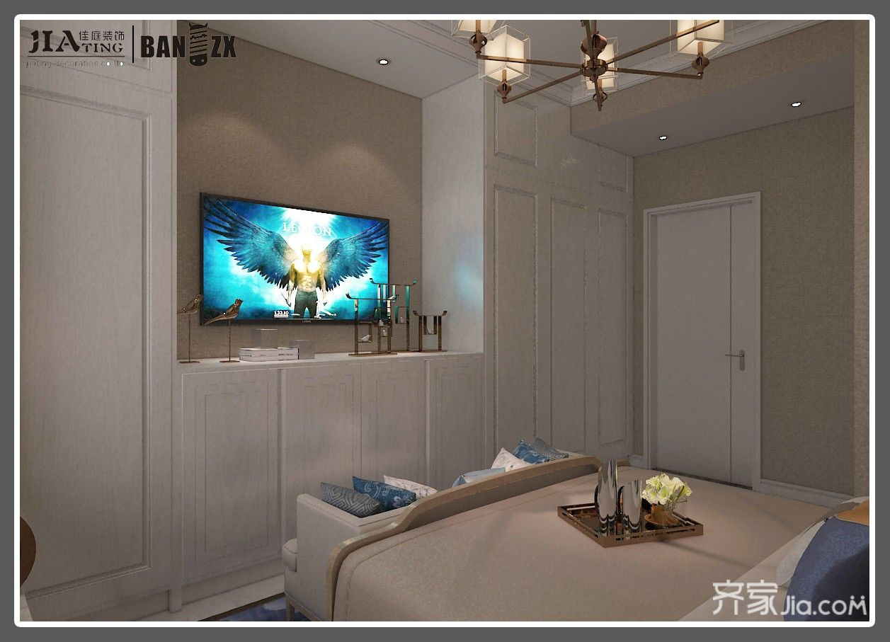 四居室新中式风格装修电视柜设计图