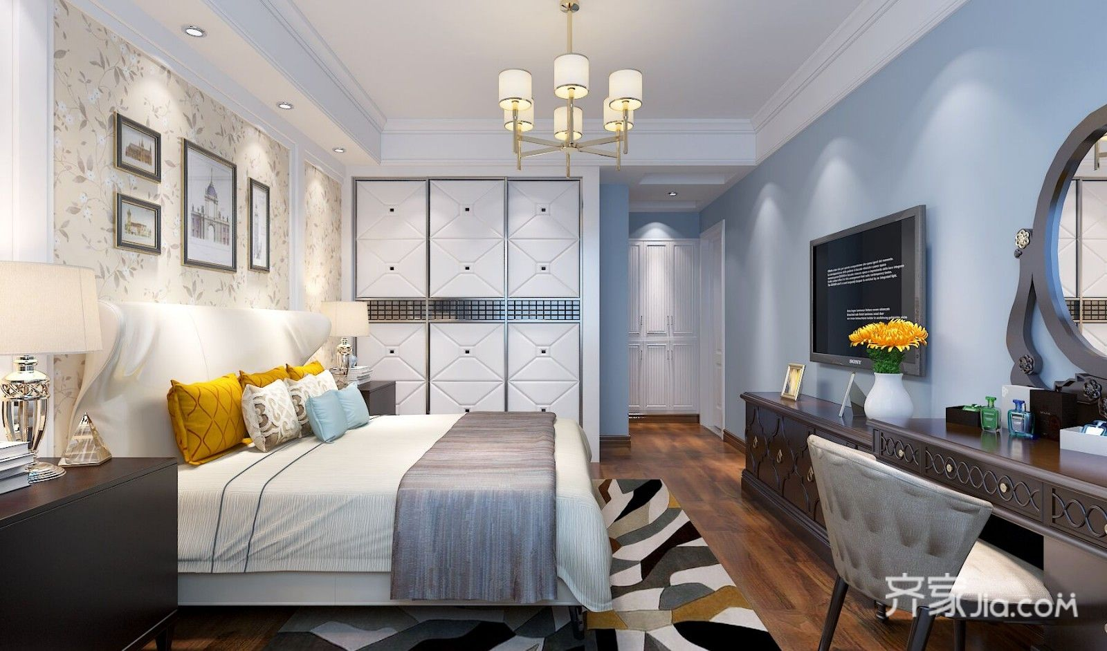 125平简美三居卧室背景墙装修效果图