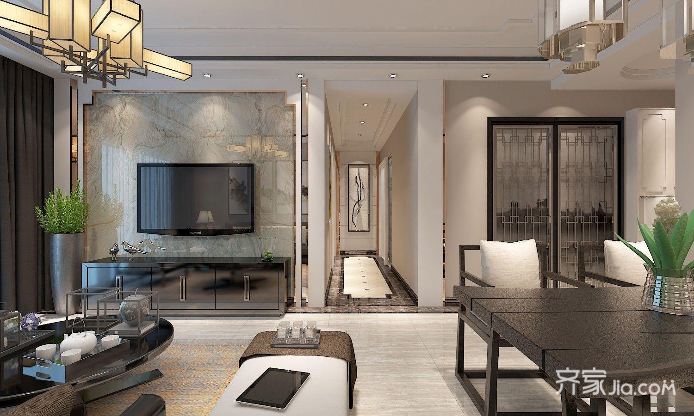 新中式三居室电视背景墙装修设计效果图