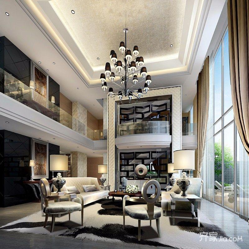 新古典风格别墅客厅装修效果图